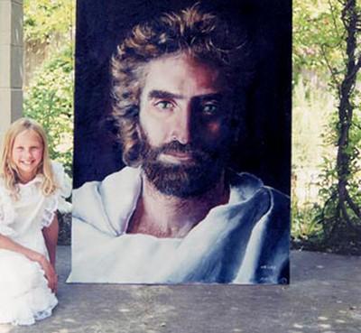 """Nejslavnější dílo Akiane. Malá Akiane namalovala podle své vize, kterou viděla v dešti, boží tvář a dílo nazvala """"Princ míru"""". Mnozí ho ztotožňují s podobiznou Ježíše. (1.bp.blogspot.com)"""